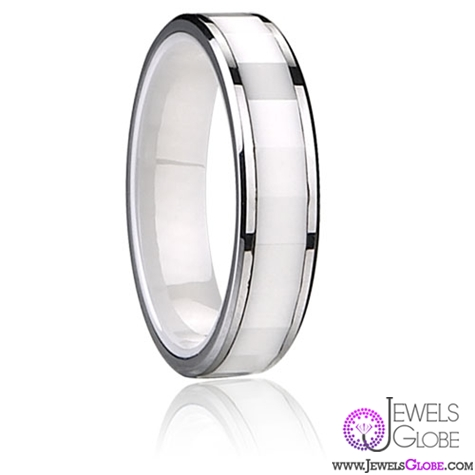 White Ceramic Wedding Bands Inlaid Best 23 For
